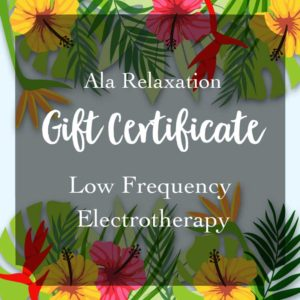 Ala Relaxation massage gift certificate for Electra therapy